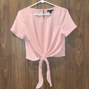 Forever 21 Pink Blush Chiffon Tie Front Top NWT